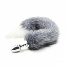 Gray to White Anal Fox Tail Butt Plug